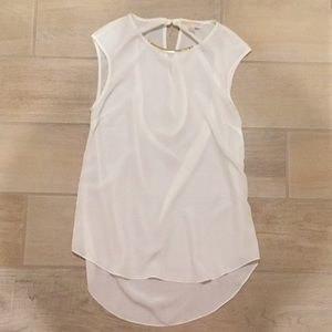 White silky  tunic top, cowl back, NWOT